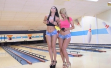 Bowling night threesome fuck with two sexy chicks