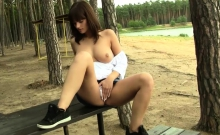 Hot teen plays with her cunt outdoors