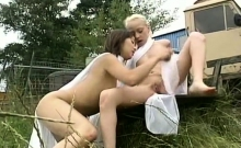 Asian and blonde enjoy some lesbian interracial sex