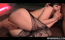 Nympho Asian slut in pantyhose giving double BJ in close-up
