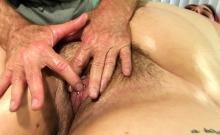 Chubby redhead slut visits a masseur He kisses her ass