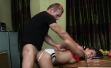 Tiny Teen Bent Over Table And Doggystyle