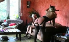 Bizarre humiliation with bent over floozy who gets punished