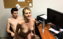 Blonde secretary wants to fuck with her boss