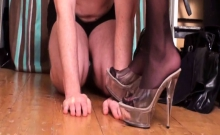Nylon ladies trample slaves hands