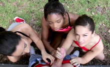 Busty Ebony Teen And Bffs Fucked After Workout Session