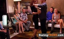 Tanned Blonde Swinger Sucks A Tiny Dick