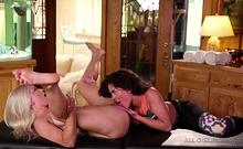 Emily Right Enjoys Victoria Voxxx Tongue Licking Her Pussy
