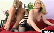 Two mature blondes in an interracial threesome
