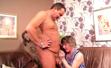 German Mature Wife catch him Fuck Granny Maid and Join 3Some